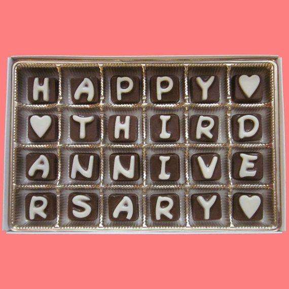 Three Years Anniversary Boyfriend Gifts For Him Her 3rd Wedding Gift Girlfriend Happy Third Cubic Chocolate Letter