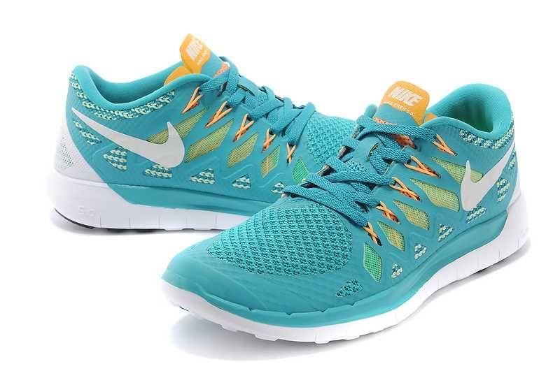 Mens Nike Free 5.0 2014 Cyan Yellow Orange Shoes