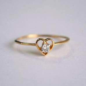 Herz Diamant Ring Baby Diamant Verlobungsring Zierliche Herz Ring