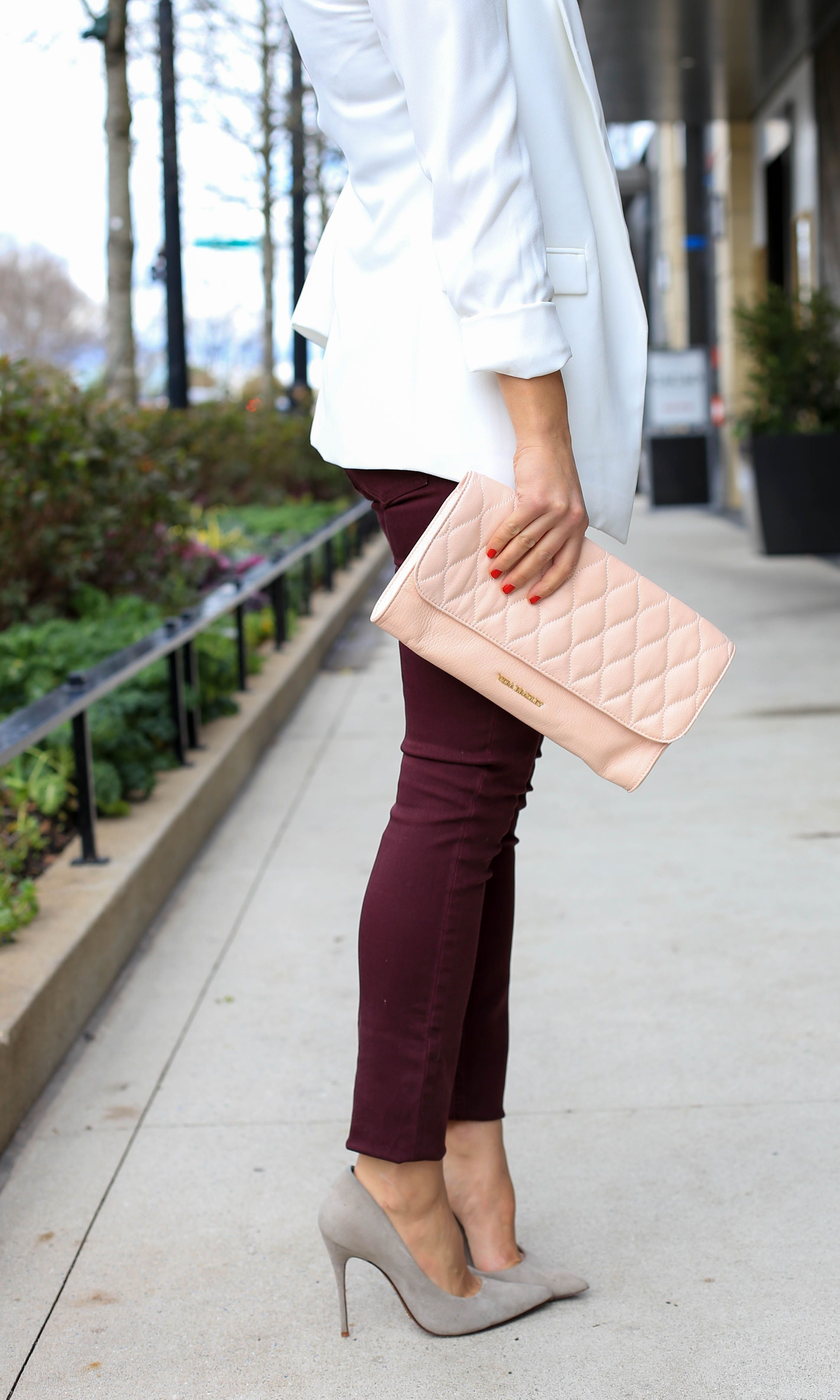 ae8a92b88a White Blazer and burgundy jeans with grey suede heels -  mystylevita