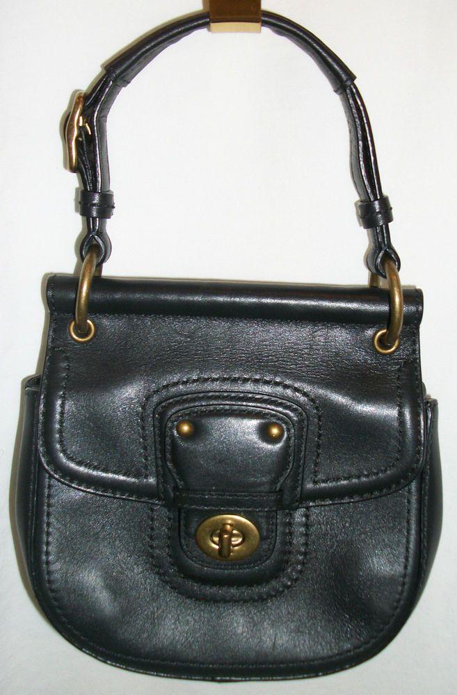 Coach 19886 Mini Willis Legacy Black Leather Cross Body Shoulder Bag Purse