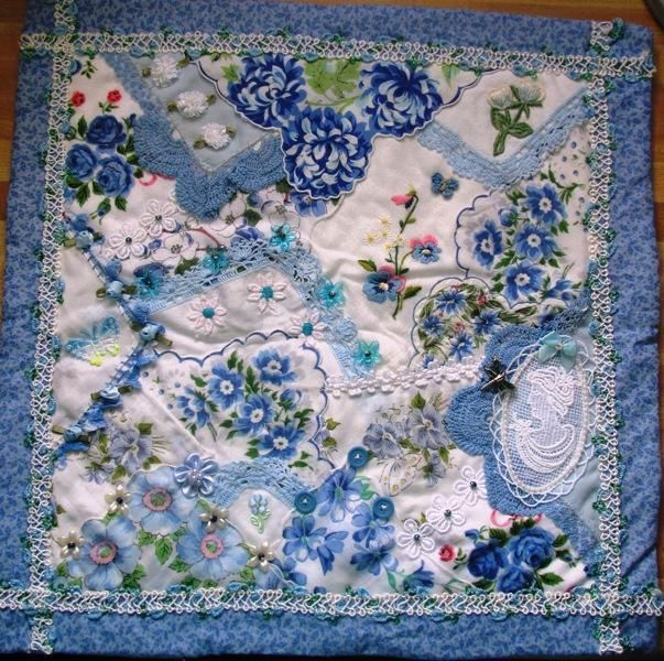Mini Hankie Victorian Shabby Chic Cameo Crazy Quilt Upcycled ... : victorian style quilts - Adamdwight.com
