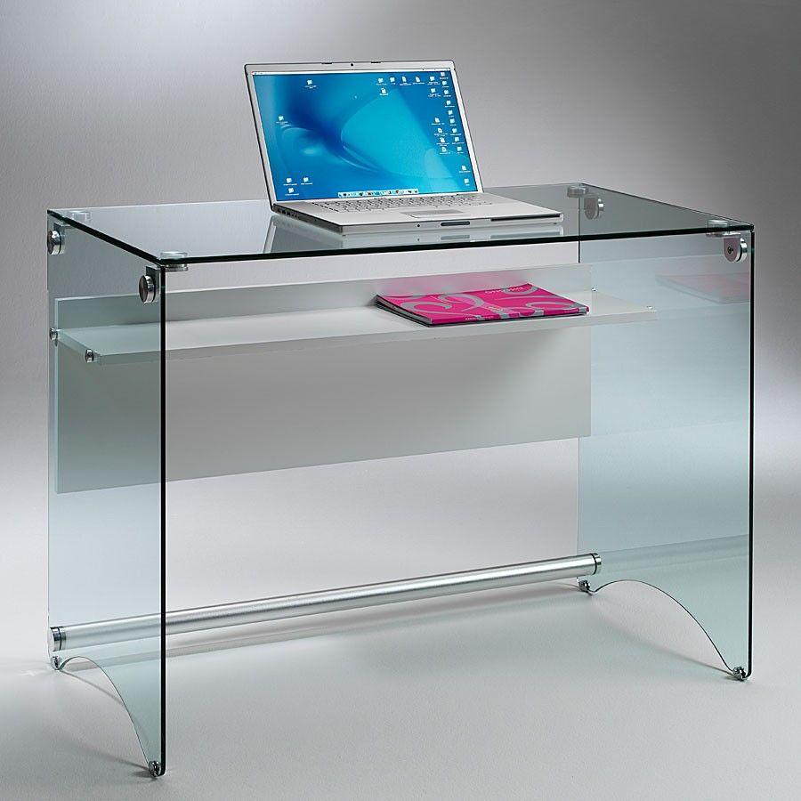 Scrivania per computer in vetro trasparente Scriba