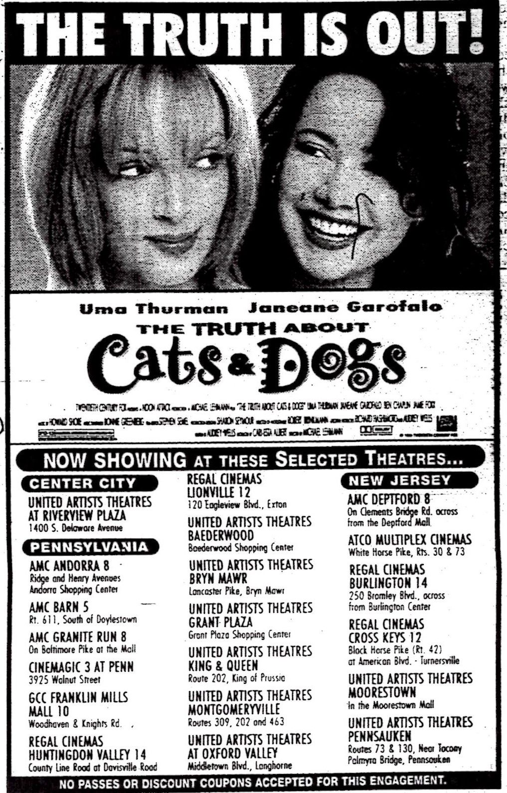 """Ad for """"The Truth About Cats & Dogs,"""" starring Uma Thurman"""