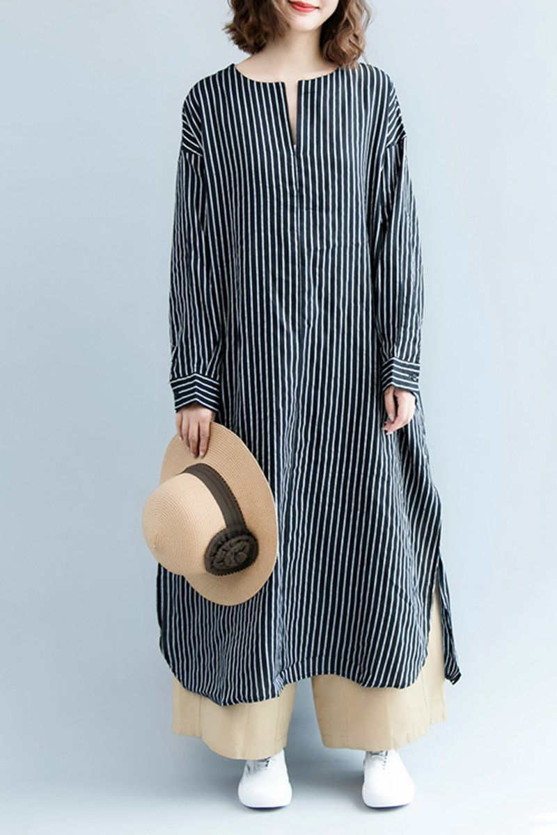 Fashion Casual Striped Linen Shirt Women Long Blouse For Autumn S3084 #autumnseason