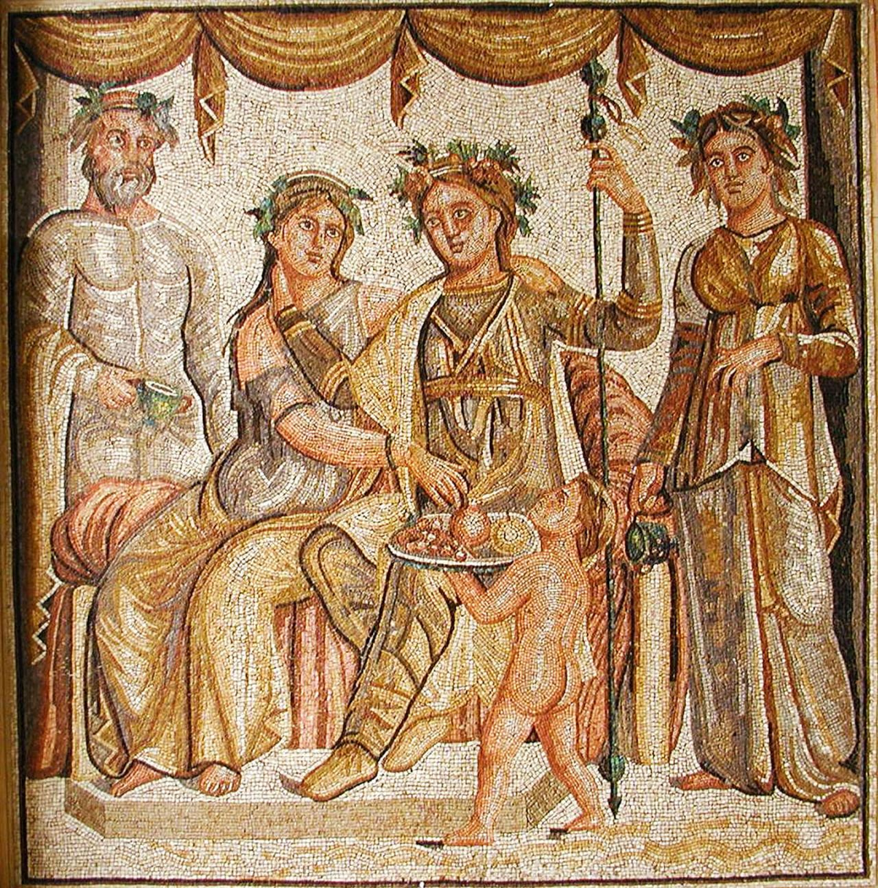 The Wedding of Ariadne, Roman mosaic, 2nd century AD ...