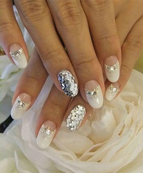 Glitter White Nail Designs For Prom