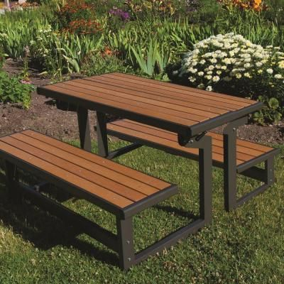 Lifetime Convertible Patio Bench 60054 Backyard Furniture Picnic Table Folding Picnic Table
