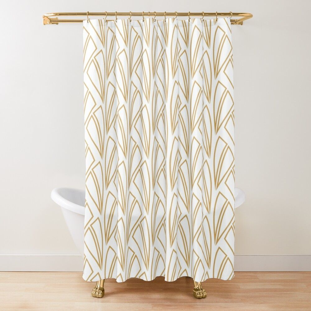 Gold And White Art Deco Pattern Shower Curtain By Karinai In 2020