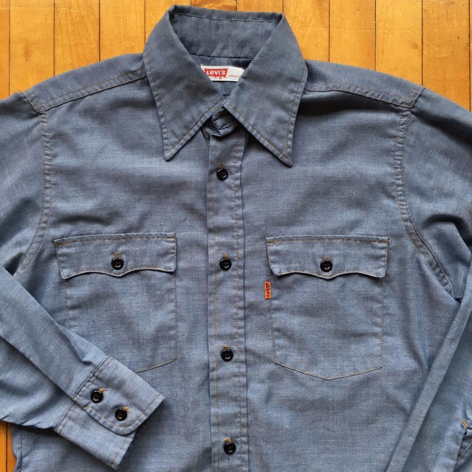 Blue chambray width pit to pit 21 shoulder widest