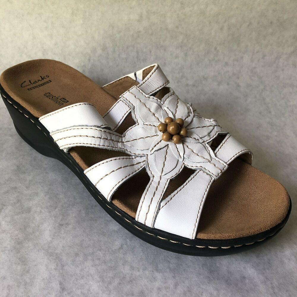 Clarks Sandals Womens Size 9.5 W White Wide Width Lexi