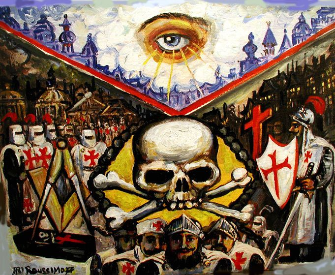 knights templar masonic skull apron mixed media painting