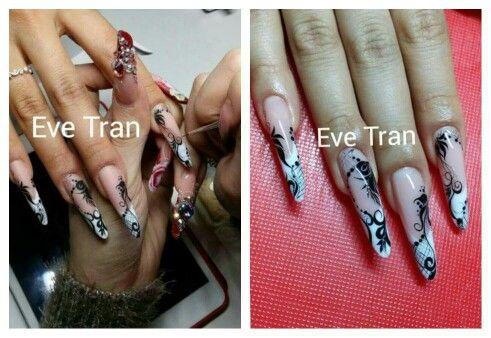 Beautiful #nails #long #black #white# tribal