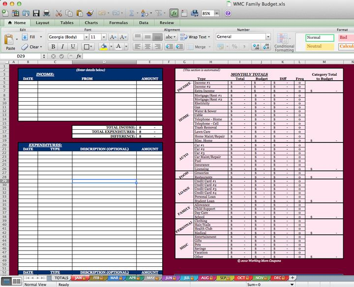 Spreadsheet to keep track of where it all goes COUPON - household budget excel spreadsheet