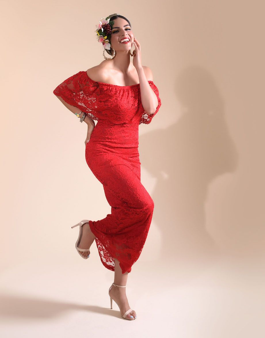 Red sexy fitted lace off shoulder long dress get your carmen