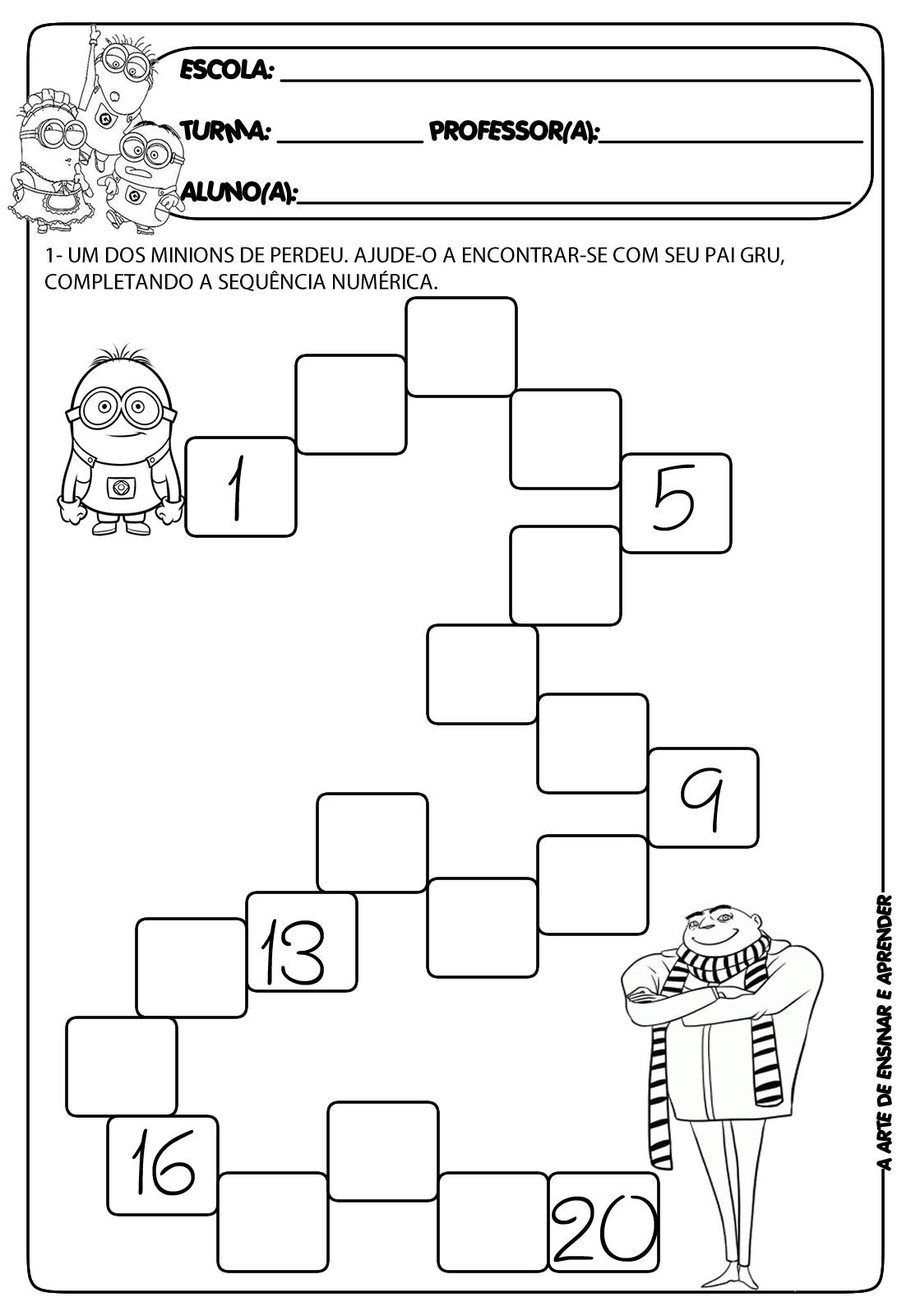 Atividade de sequência numérica com temática - dia dos pais ...