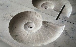 Stone sink 'Ammonit' by Bagno Sasso || Inspired by the Ammonite fossil (