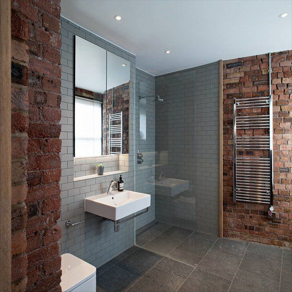 Merveilleux Contemporary Bathroom Walk In Shower Glass Partition Exposed Brick Walls