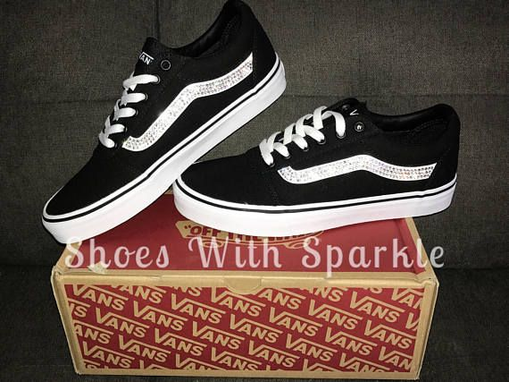 d284a89859f54 Vans ® skater shoes Black/White Custom Bling with Swarovski ...