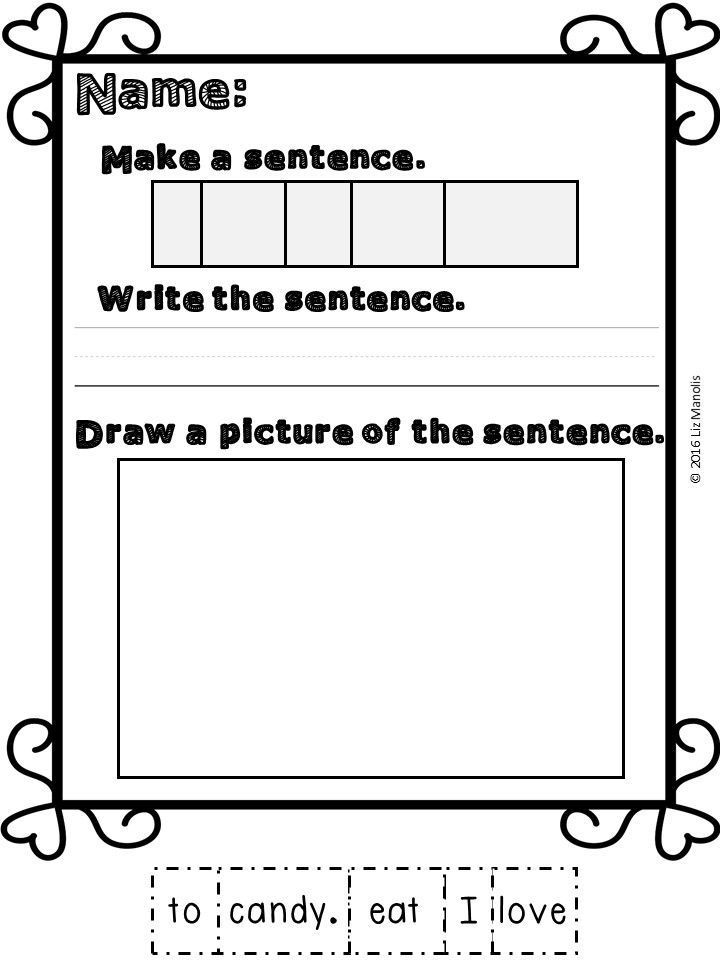 Valentine's Day Sentence Building Worksheets - The Autism Vault ...
