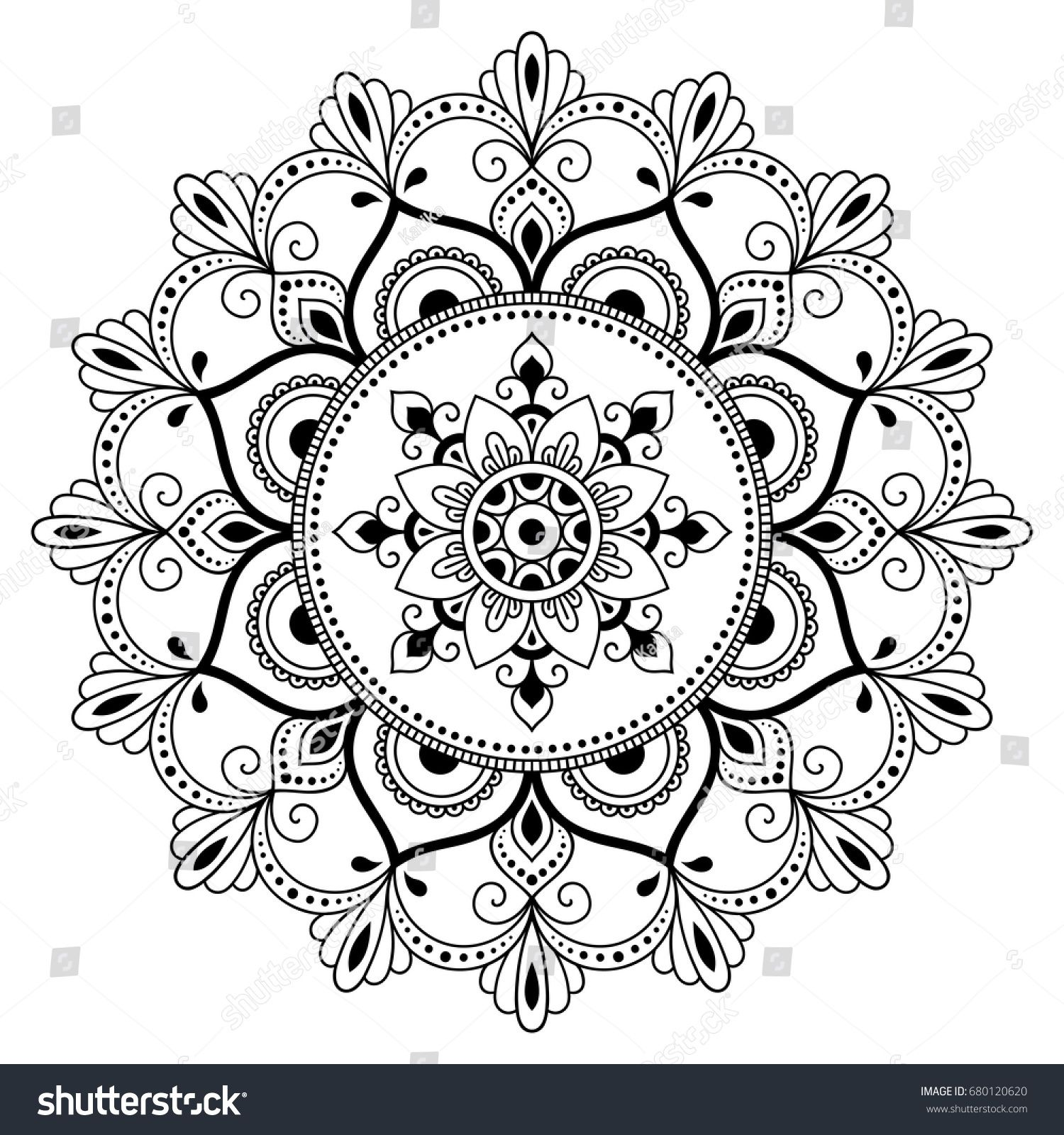 Circular Pattern In The Form Of A Mandala Henna Tatoo Mandala