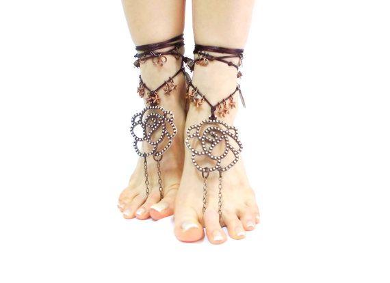 Silberne barfuss Sandalen tribal Bauch Hippie von CatsAndSheeps