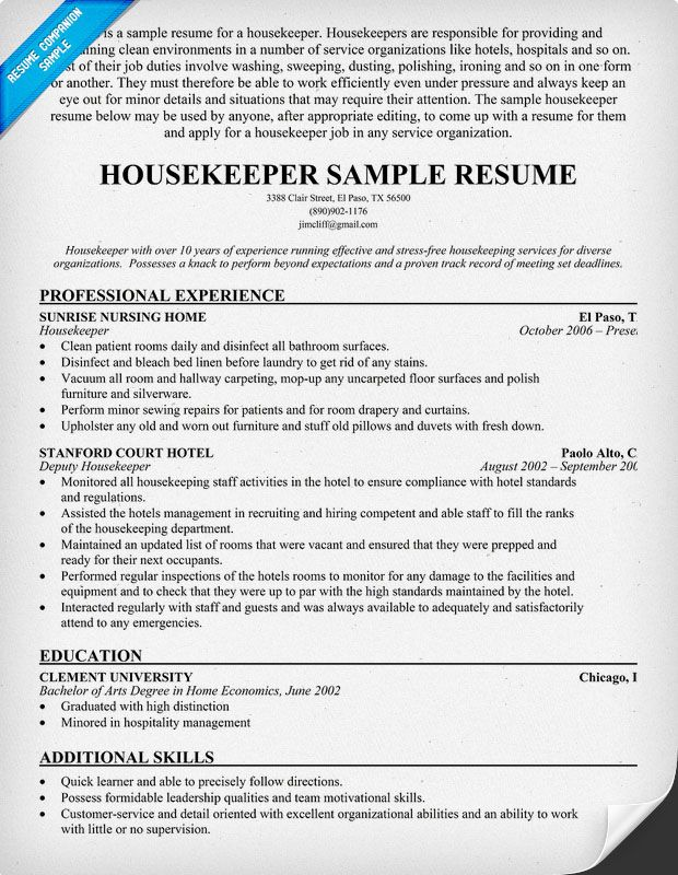 housekeeper resume example housekeeping examples house contract - motorcycle mechanic sample resume sample resume