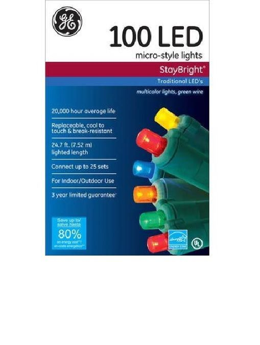 Ge Staybright Micro Style Led Christmas Lights Multi Color 100 Count Indoor Out