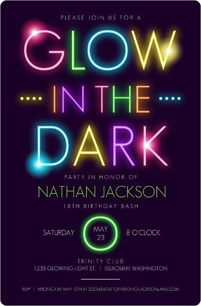 Glow in the Dark Party Invitations This would be great for a glow