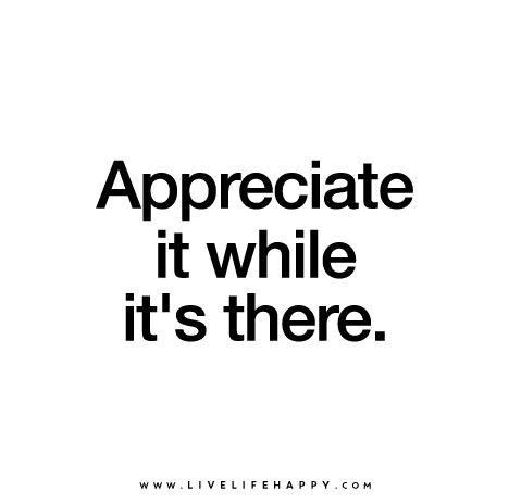 Appreciate it while it's there.