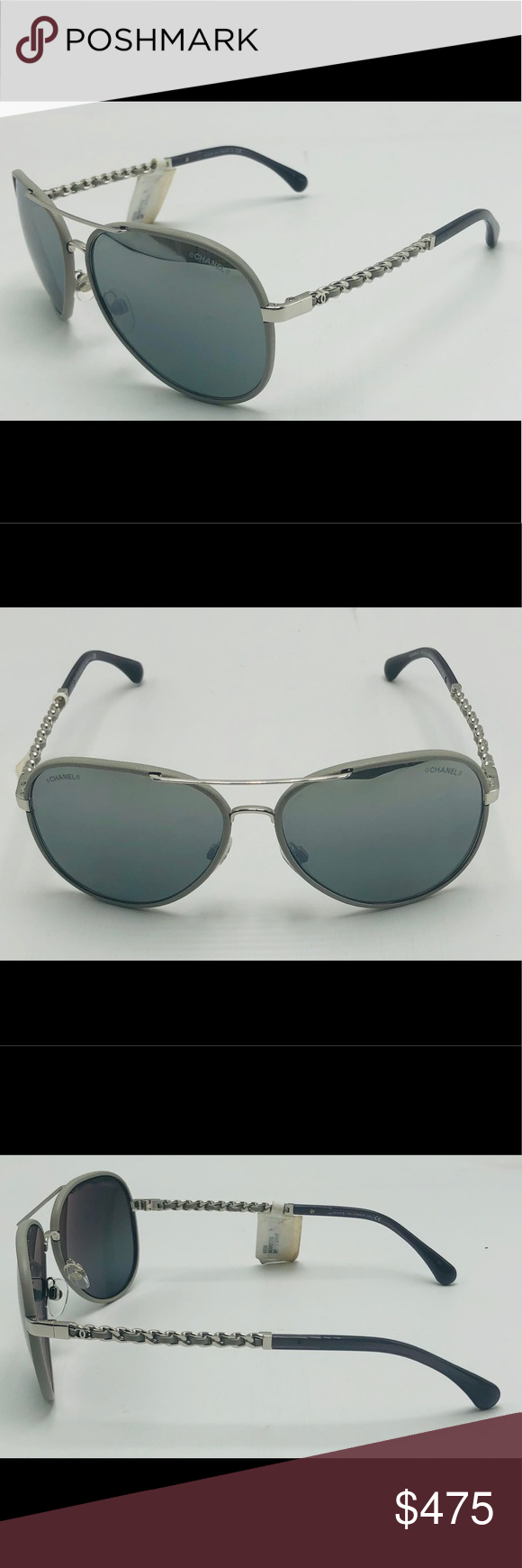 6e9d0bd8dadc NWT CHANEL Pilot Gray Leather Sunglasses 4219-Q Coming CHANEL Accessories  Sunglasses