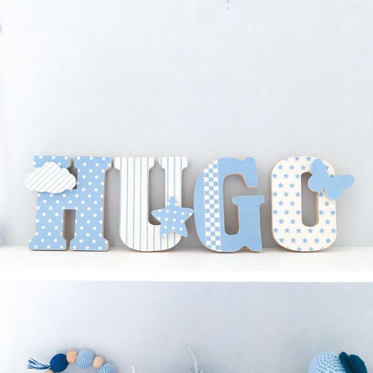 Buchstaben Name in Holz und bedrucktem Stoff für