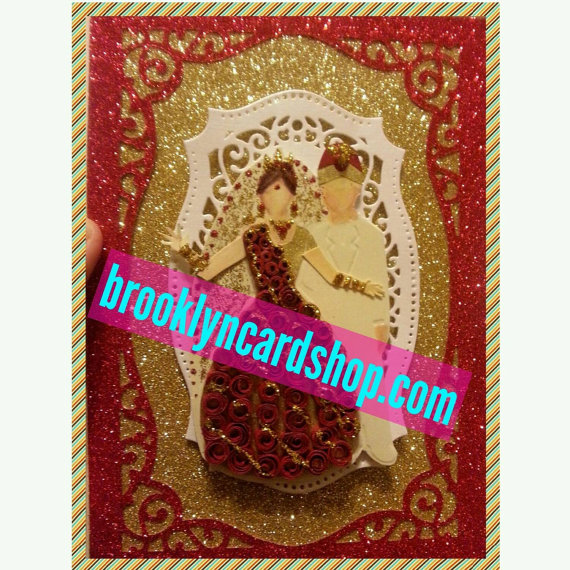 Handmade Wedding Card Traditional Red And Gold Gown For Bengali