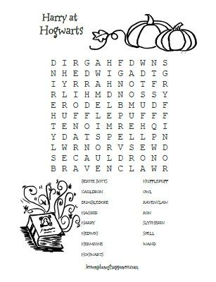 Harry Potter Worksheet Hogwarts Wordsearch