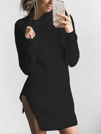 Turtle Neck Split Women s Sweater Dress  c3bfe2838