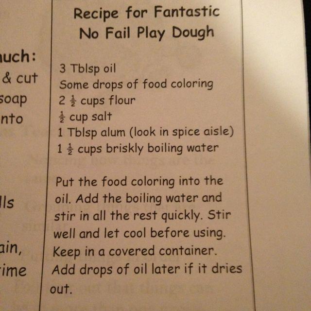 Recipe for fantastic No Fail Play Dough!