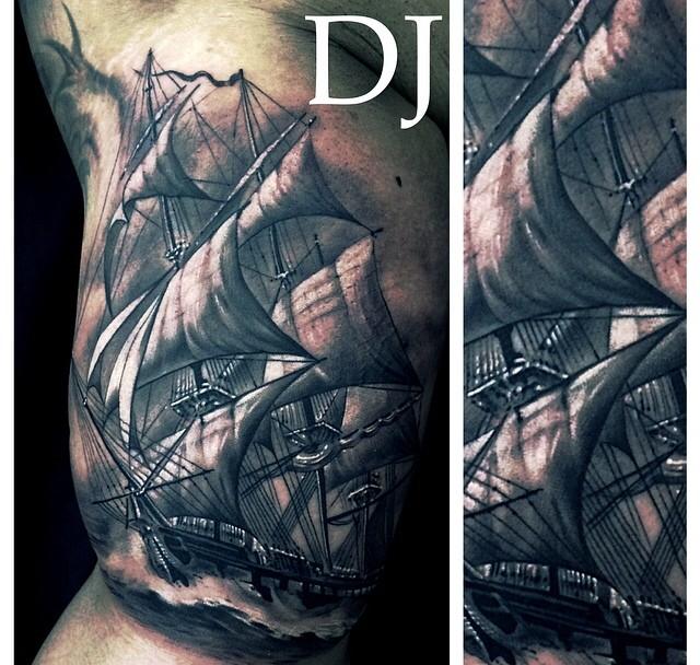 galleon tattoo by dj tambe inspirational tattoos pinterest tattoo and grey tattoo. Black Bedroom Furniture Sets. Home Design Ideas