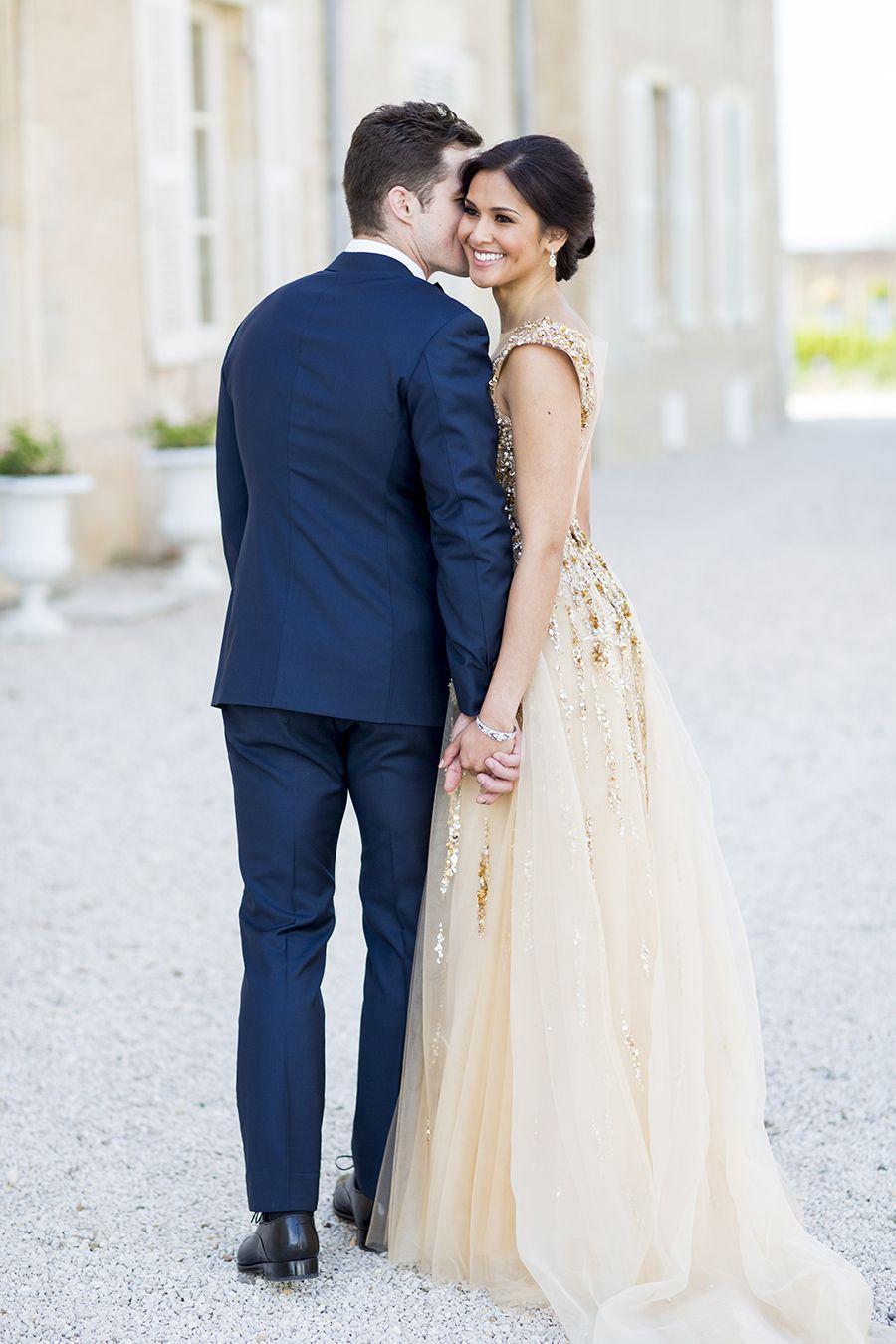 Modern gatsbyinspired french wedding sparkly gold dress black