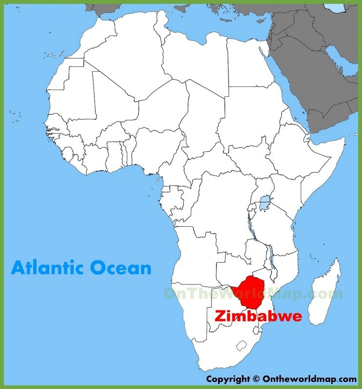 Zimbabwe Location On The Africa Map Africa Map Tunisia