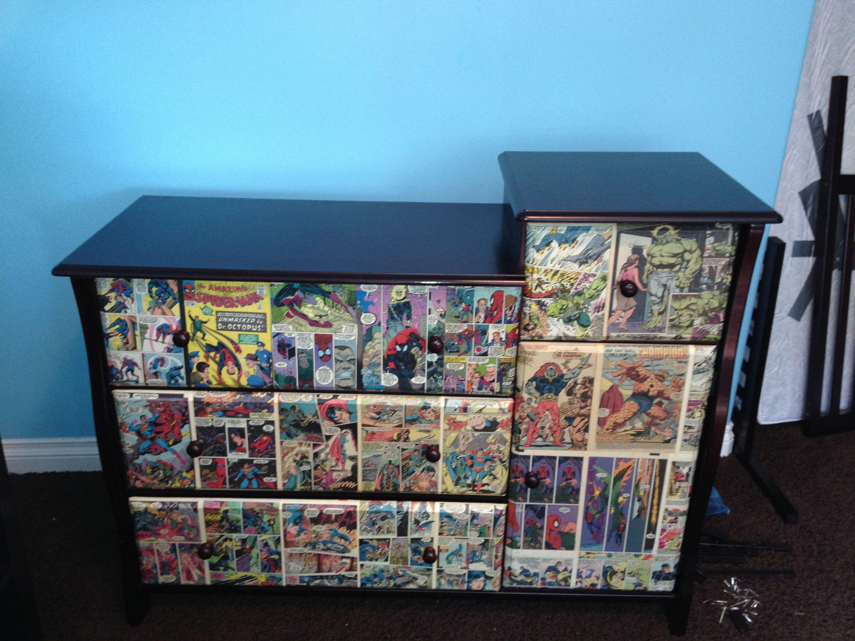Superhero dresser redo Mod podge old comic book pages onto