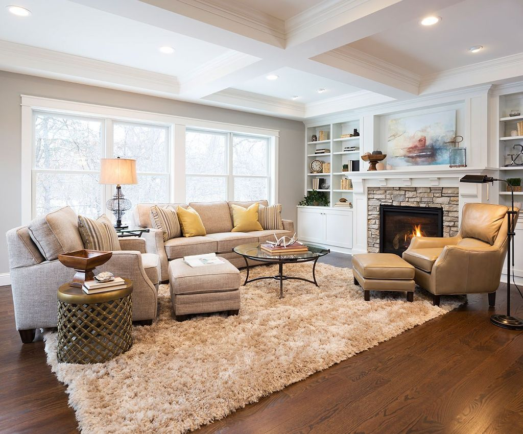 Arranging Furniture In A Open Floor Plan Neutral Living Room With Fireplace  And Large Window