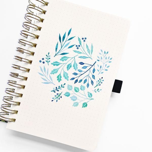 Watercolor A5 Fleur De Bleu Spiral Dot Grid Notebook Bullet