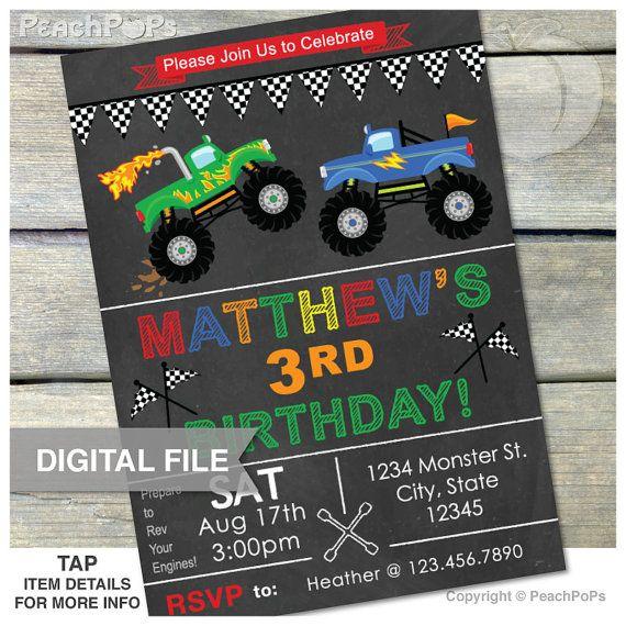 Monster Truck Birthday Invitation Chalkboard Party Invitation