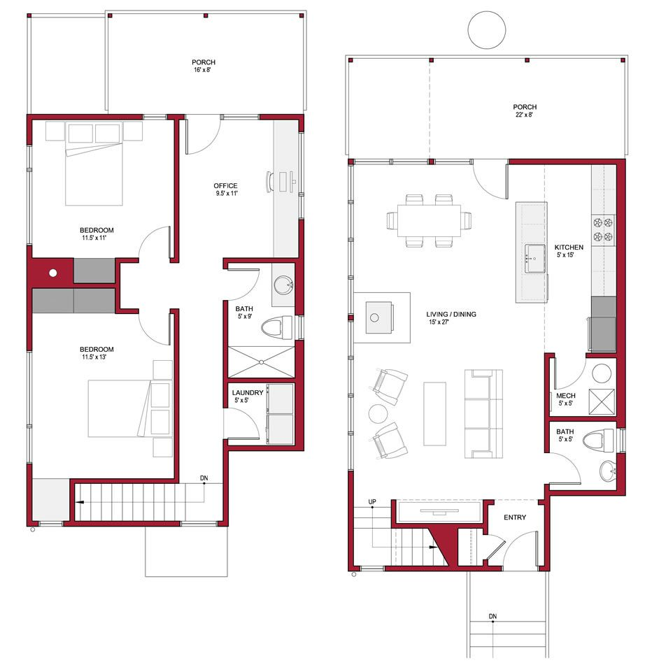 Urban Passive Solar Corner House Cabin Attitude In The City Small Floor Plans Simple Floor Plans House Floor Plans