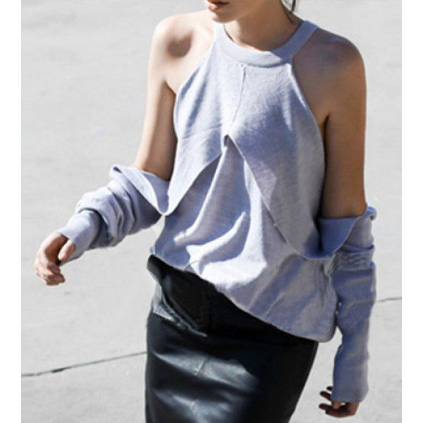 Stylish Round Neck Long Sleeve Off-The-Shoulder T-Shirt For Women