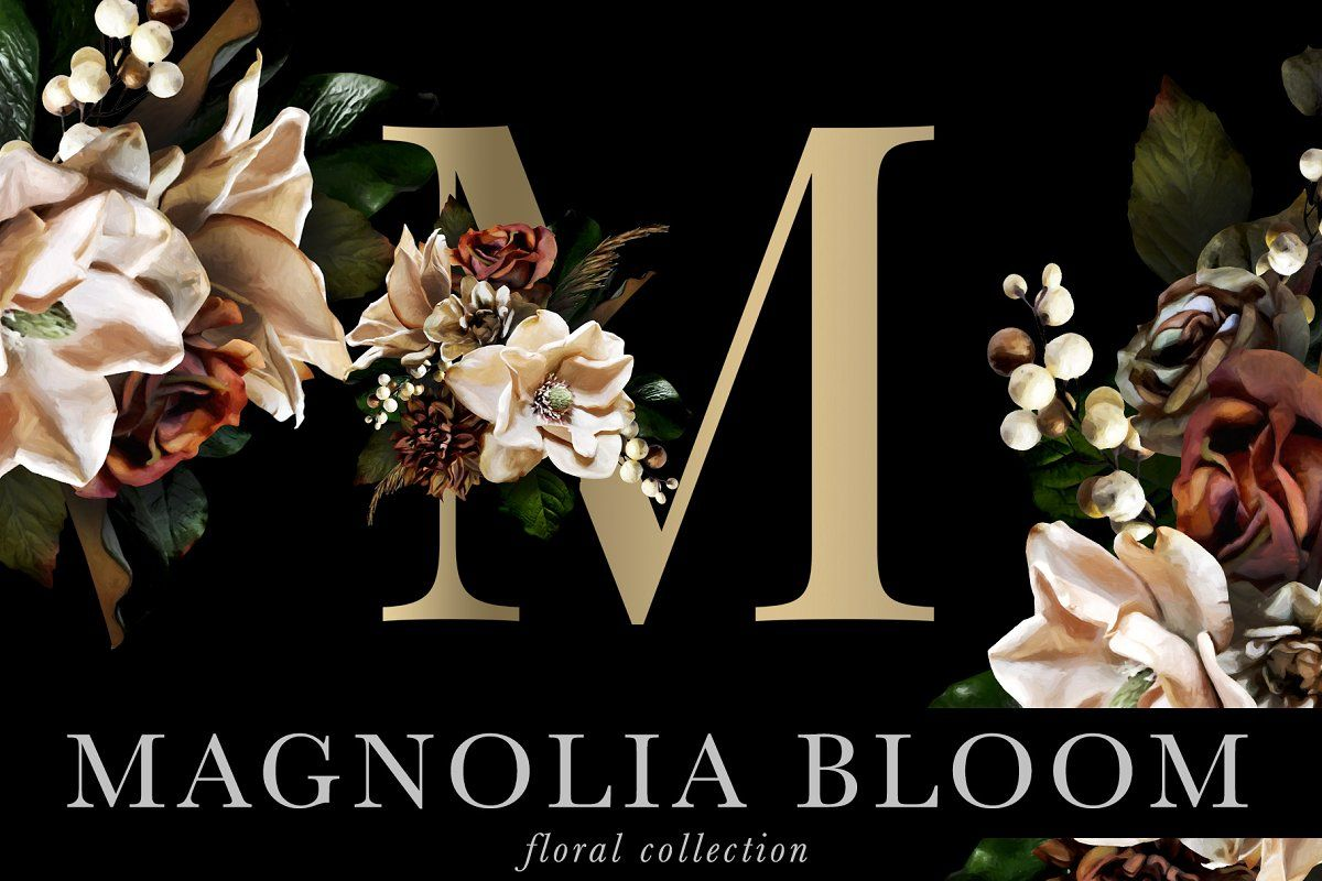 Magnolia Bloom Flowers Monograms Creative Graphic Design Floral Monogram Flower Painting