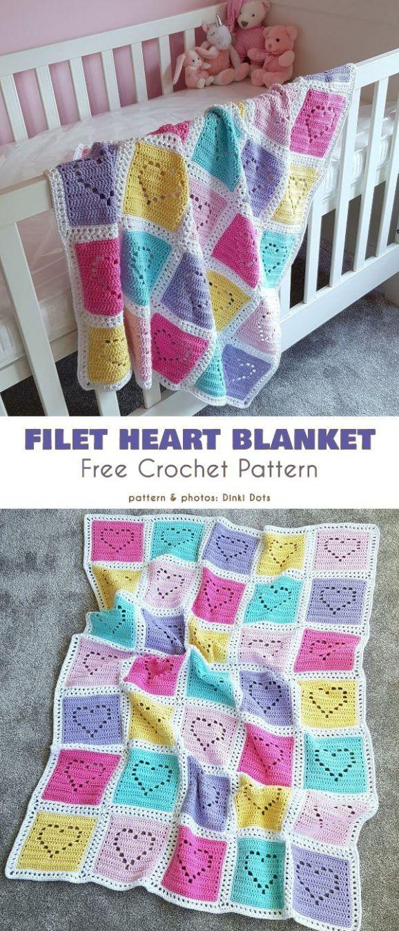 Photo of Heart Baby Blanket Free Crochet Patterns