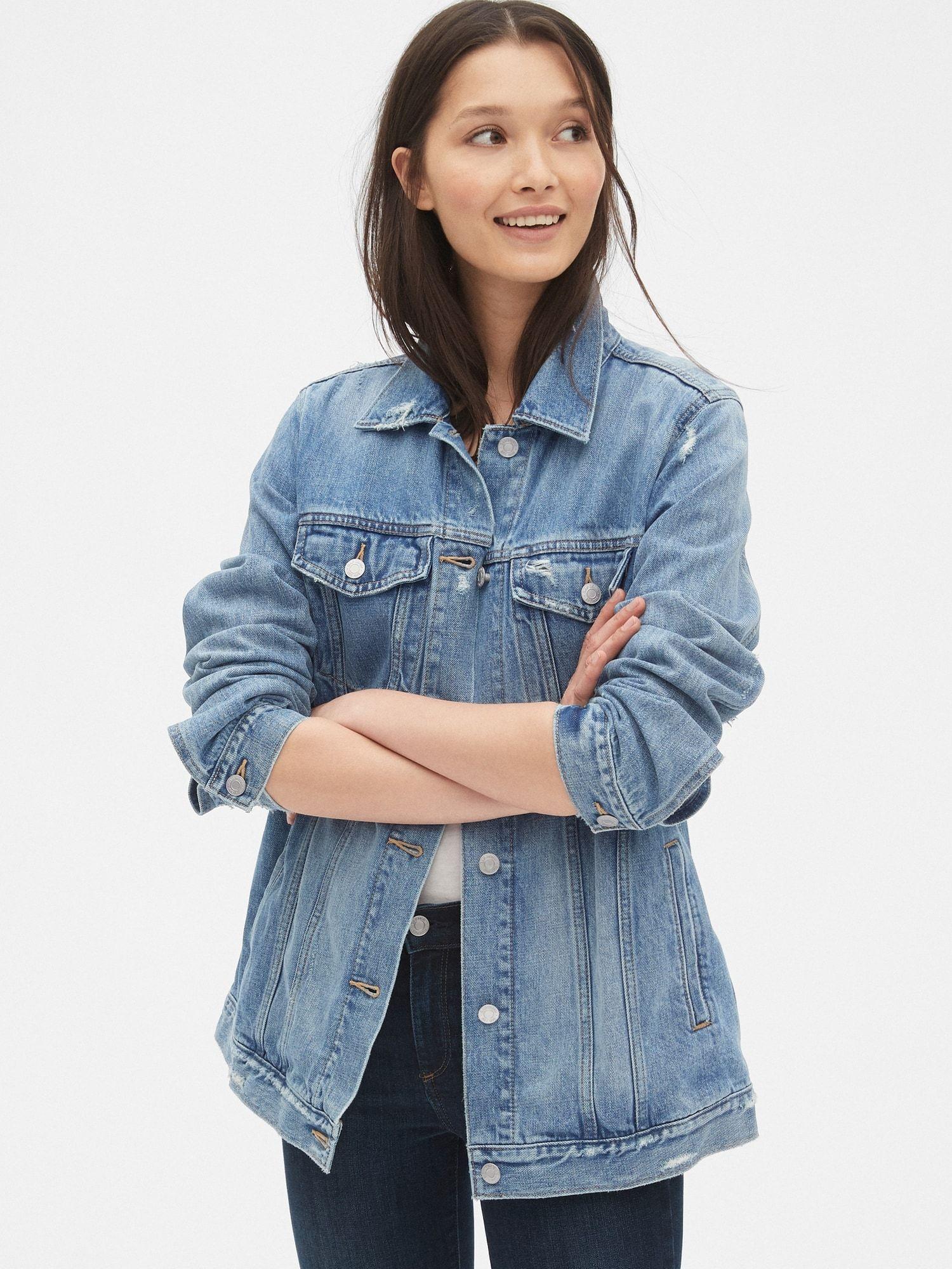 Distressed Oversized Icon Denim Jacket Gap denim jacket