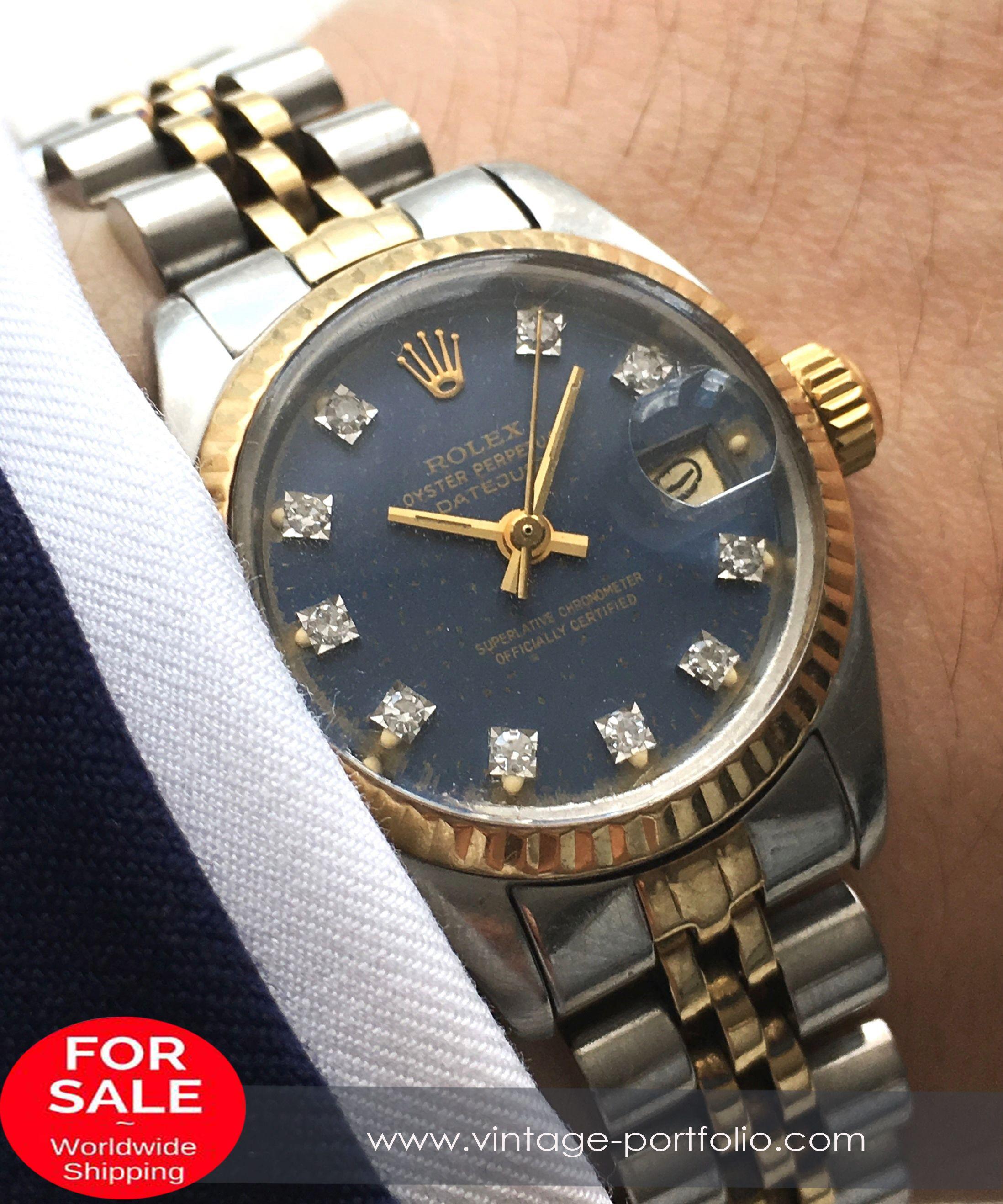 Rolex lady ladies datejust damen mm steel gold blue diamond dial