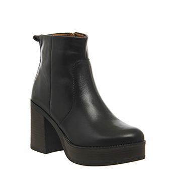Office Iggy Chunky Platform Boots Black Leather - Ankle Boots
